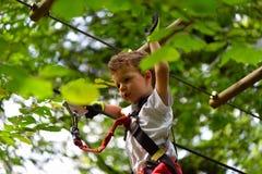 Bambini che scalano nel parco di avventura Il ragazzo gode di di scalare nell'avventura di corso delle corde Fotografia Stock