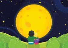 Bambini che si siedono nell'ambito dell'illustrazione di vettore di luce della luna Immagini Stock Libere da Diritti