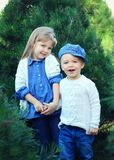 Bambini che si tengono per mano in pini Immagine Stock Libera da Diritti