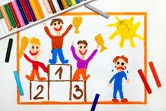 Bambini che stanno sul podio del vincitore e su un ragazzo che gridano perché ha perso illustrazione vettoriale