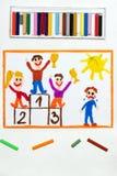 Bambini che stanno sul podio del vincitore e su un ragazzo che gridano perché ha perso illustrazione di stock