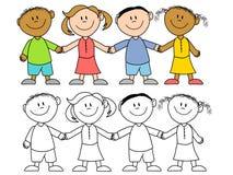 Bambini che tengono il gruppo delle mani Fotografia Stock Libera da Diritti