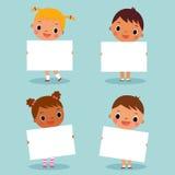 Bambini che tengono segno in bianco illustrazione vettoriale
