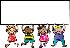 Bambini che tengono un bordo del segno Fotografia Stock