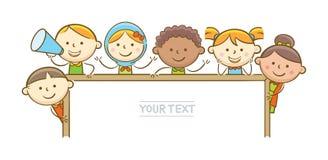 Bambini che tengono whiteboard Fotografia Stock