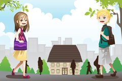 Bambini che vanno al banco illustrazione vettoriale