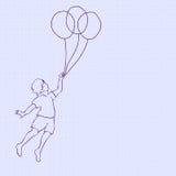 Bambini che volano sui palloni royalty illustrazione gratis