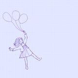 Bambini che volano sui palloni illustrazione vettoriale