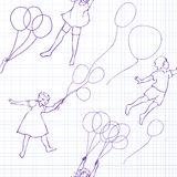 Bambini che volano sui palloni illustrazione di stock