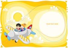 Bambini che volano tramite l'illustrazione di vettore piano Fotografie Stock