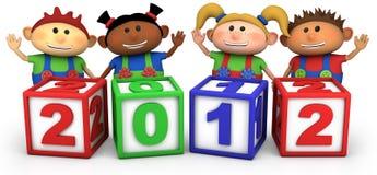 Bambini con 2012 blocchetti di numero Fotografia Stock