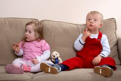 Bambini con Down Syndrome Fotografia Stock Libera da Diritti