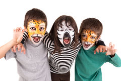Bambini con fronte-pittura Fotografie Stock Libere da Diritti