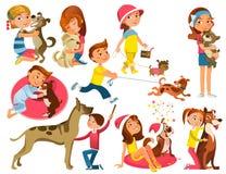 Bambini con gli animali domestici messi illustrazione di stock