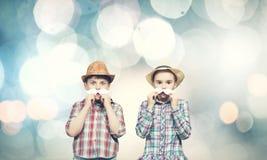 Bambini con i baffi Fotografia Stock