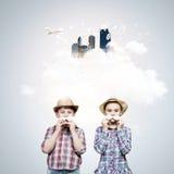 Bambini con i baffi Fotografia Stock Libera da Diritti