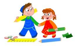 Bambini con i pastelli Fotografia Stock Libera da Diritti