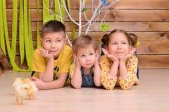 Bambini con i polli all'interno fotografie stock libere da diritti