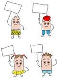 Bambini con i segni Fotografia Stock