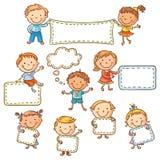 Bambini con i segni in bianco illustrazione vettoriale