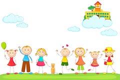 Bambini con il banco sulla nube Fotografie Stock Libere da Diritti