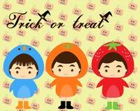 Bambini con il costume di Halloween illustrazione vettoriale