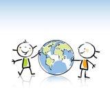 Bambini con il globo Fotografia Stock