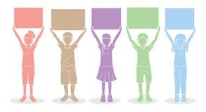 Bambini con il grafico del bordo del segno royalty illustrazione gratis