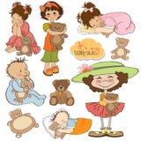 Bambini con l'accumulazione degli orsi di orsacchiotto Immagine Stock