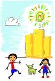 Bambini con la scheda Fotografia Stock Libera da Diritti
