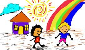 Bambini con la scheda Immagine Stock Libera da Diritti