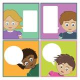 Bambini con le bolle di discorso Fotografia Stock