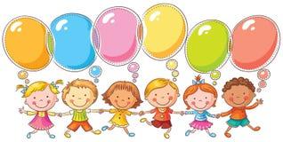 Bambini con le bolle di discorso Immagine Stock