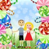 Bambini con le caramelle Immagini Stock