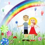 Bambini con le caramelle Fotografia Stock Libera da Diritti