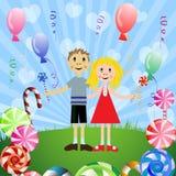 Bambini con le caramelle Fotografia Stock