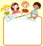Bambini con le matite e righelli. matematica. Immagini Stock Libere da Diritti