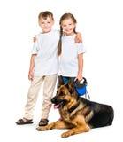 Bambini con un cane da pastore Immagine Stock