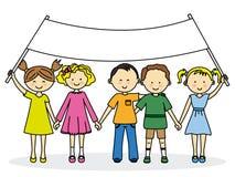 Bambini con un'insegna Fotografia Stock