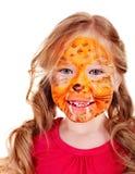 Bambini con vernice del fronte. Fotografie Stock