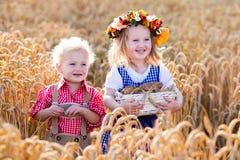 Bambini in costumi bavaresi nel giacimento di grano Fotografie Stock