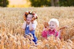 Bambini in costumi bavaresi nel giacimento di grano Immagini Stock
