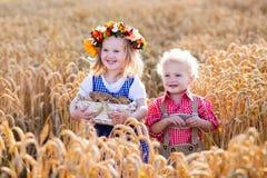 Bambini in costumi bavaresi nel giacimento di grano Fotografia Stock Libera da Diritti