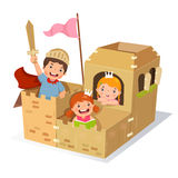 Bambini creativi che giocano castello fatto della scatola di cartone illustrazione vettoriale