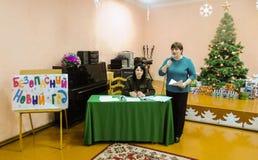 Bambini d'istruzione le basi di protezione antincendio nella regione di Homiel'di Bielorussia Immagini Stock Libere da Diritti