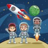 Bambini degli astronauti sul fumetto dello spazio illustrazione vettoriale