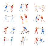 Bambini degli atleti messi illustrazione vettoriale