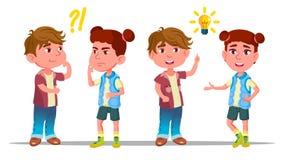Bambini dei caratteri che pensano e capire vettore illustrazione di stock