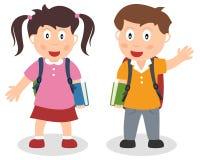 Bambini del banco con il sacchetto ed il libro Fotografia Stock