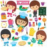 Bambini del cuoco unico ed insieme di clipart degli elementi della cucina Immagini Stock